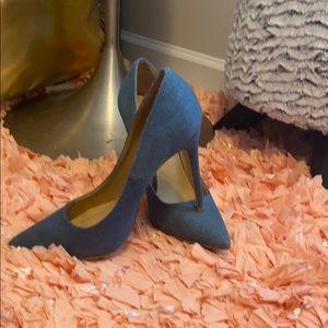 Denim pump heels